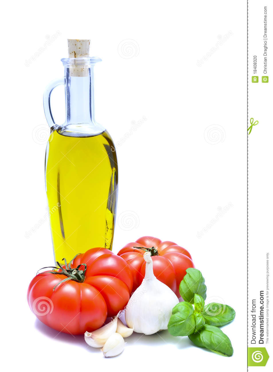 Italian food ingredients: olive oil, tomatoes, garlic and pesto ...