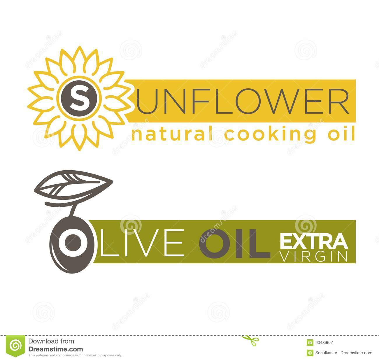 olive and sunflower oil product vector label templates stock vector