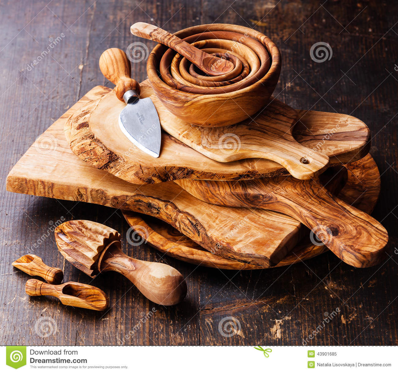 Olive wood tableware & Olive wood tableware stock image. Image of wood accessory - 43901685