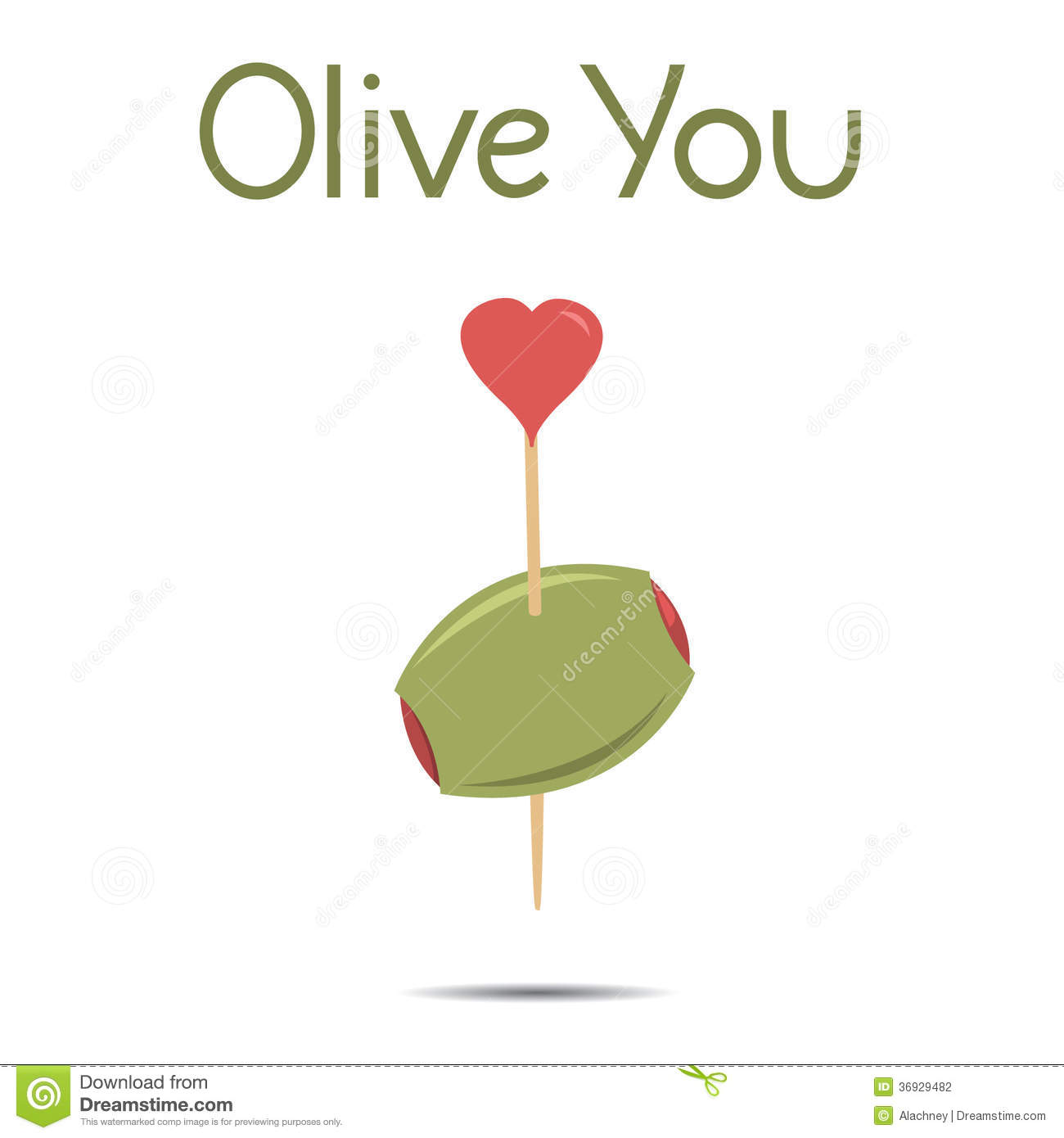 Olive You I Love You Vector Illustration Stock Photography ...