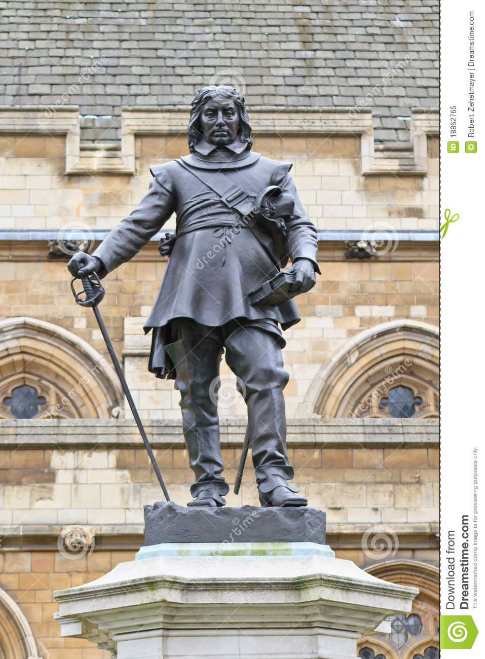 Oliver Cromwell Statue London Uk Royalty Free Stock