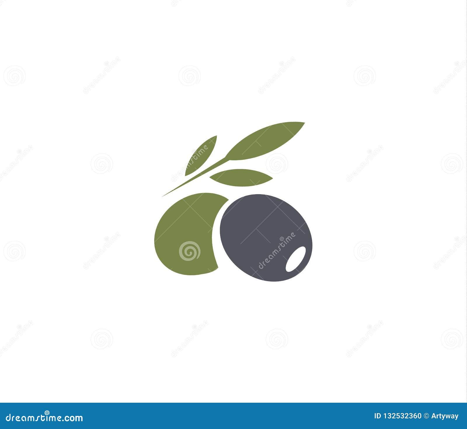 Natural Brand Logo Badge Design: Olives Emblem. Olive Oil Logo Element. Green Olive Branch