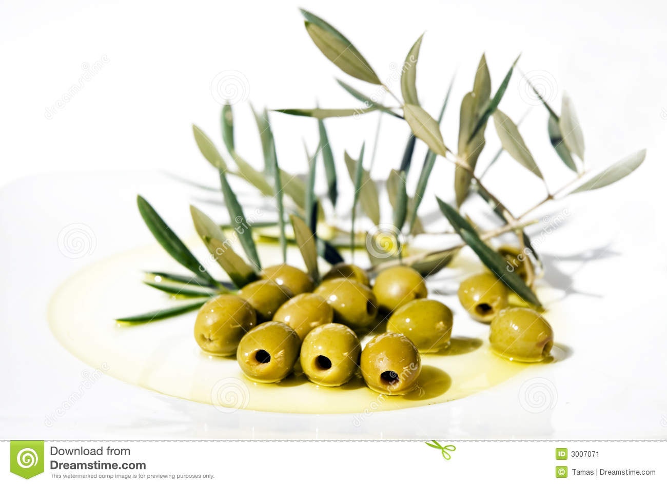 Olives and Olive Oil on plate