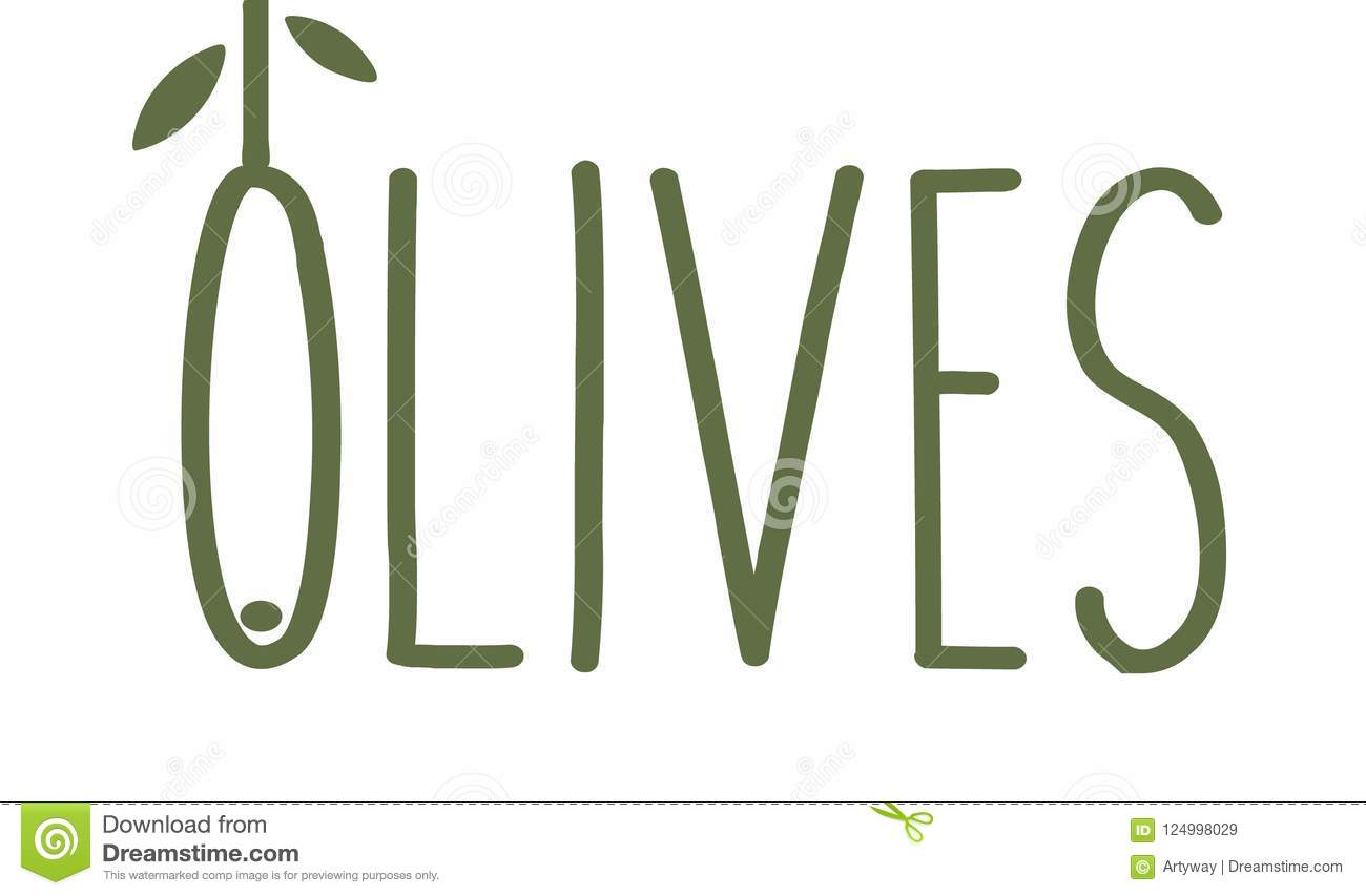 Olives thin line emblem. Green olive branch with leaves. Gourmet food unusual concept logo template. Simple logotype