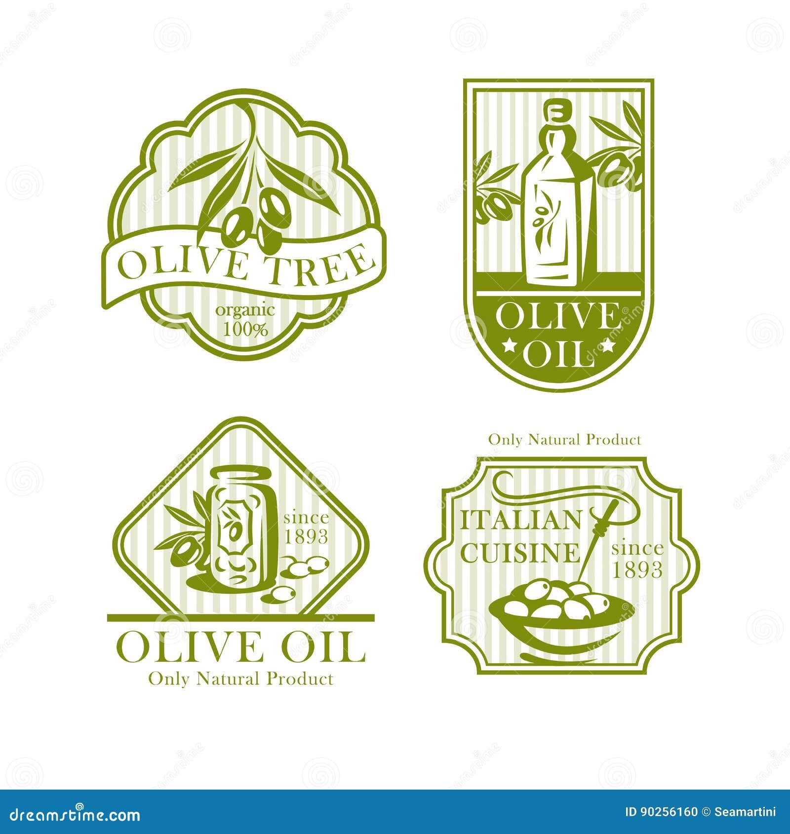 Olivoljavektorsymboler för olivproduktetiketter