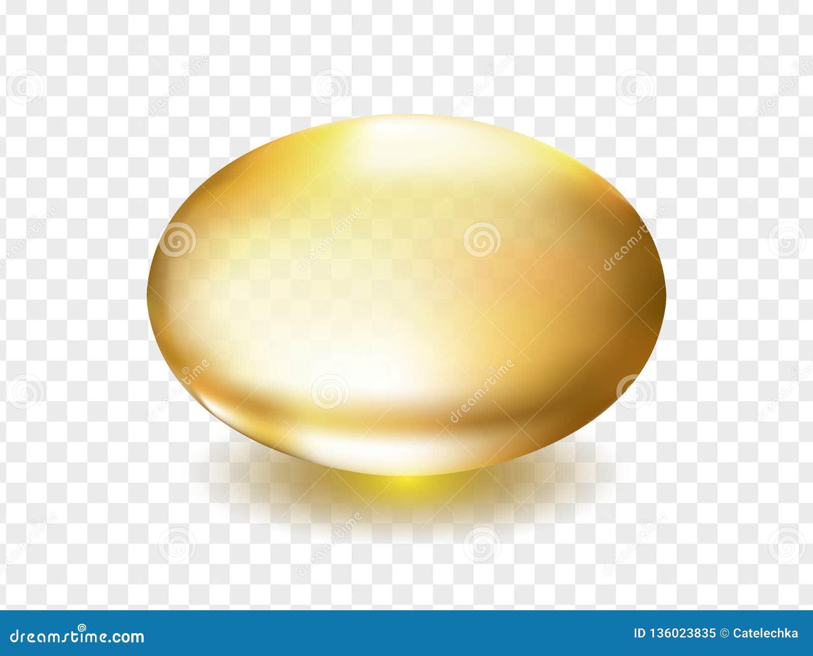 Oliwi, witamina A, E lub kolagenu złota kapsuła, Złoty owalny bąbel, przedstawia omegi 3 olej