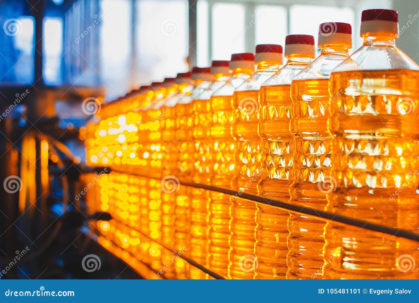 Olja i flaskor Industriell produktion av solrosolja transportör