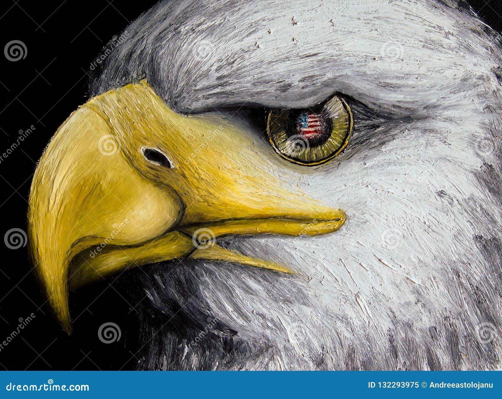 Oljamålning av enhövdad örn med amerikanska flaggan reflekterade i dess guld- öga som isolerades på svart bakgrund, ferier