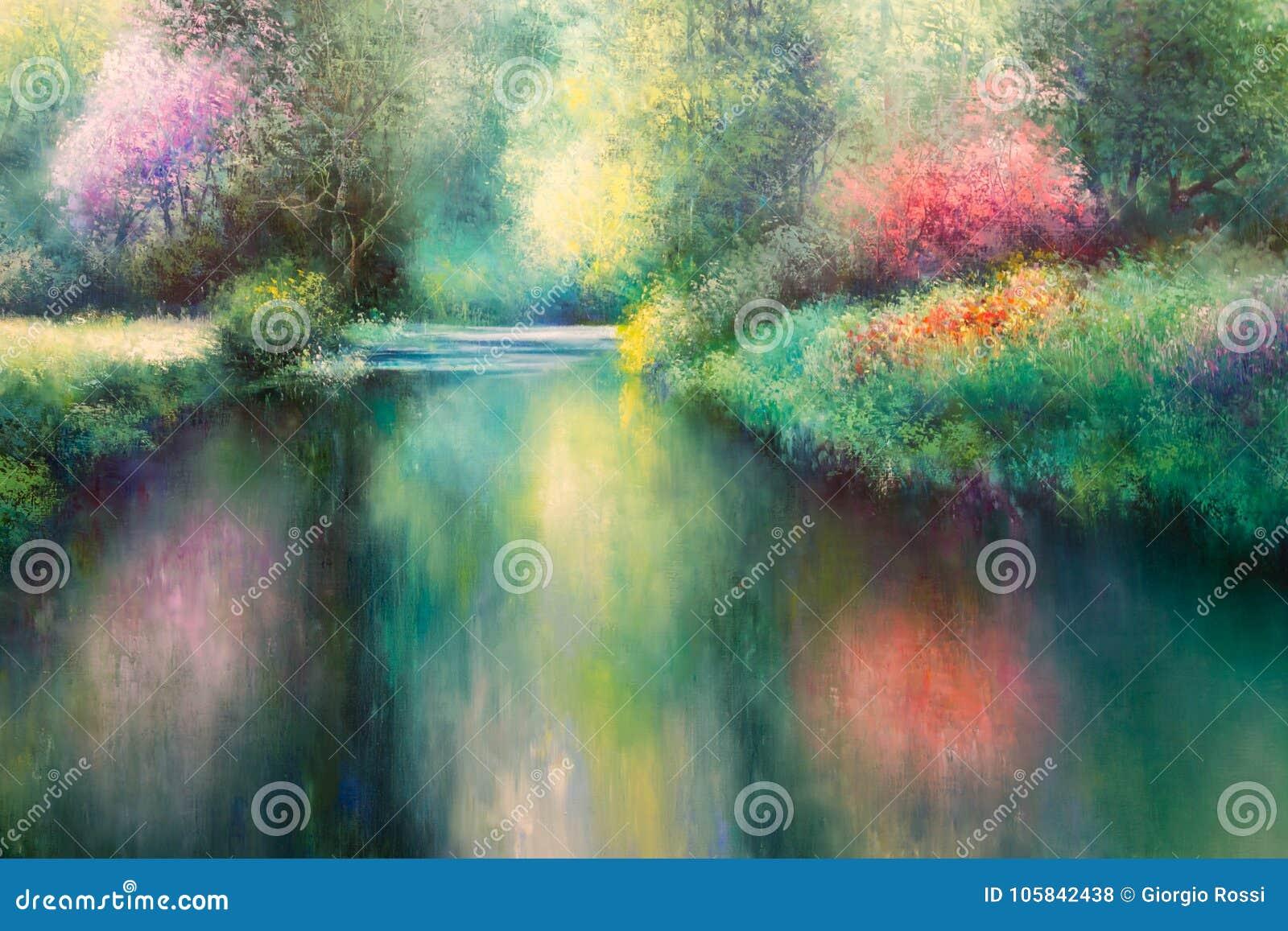 Olje- kanfasmålning: Våräng med den Coloful naturen, floden och träd