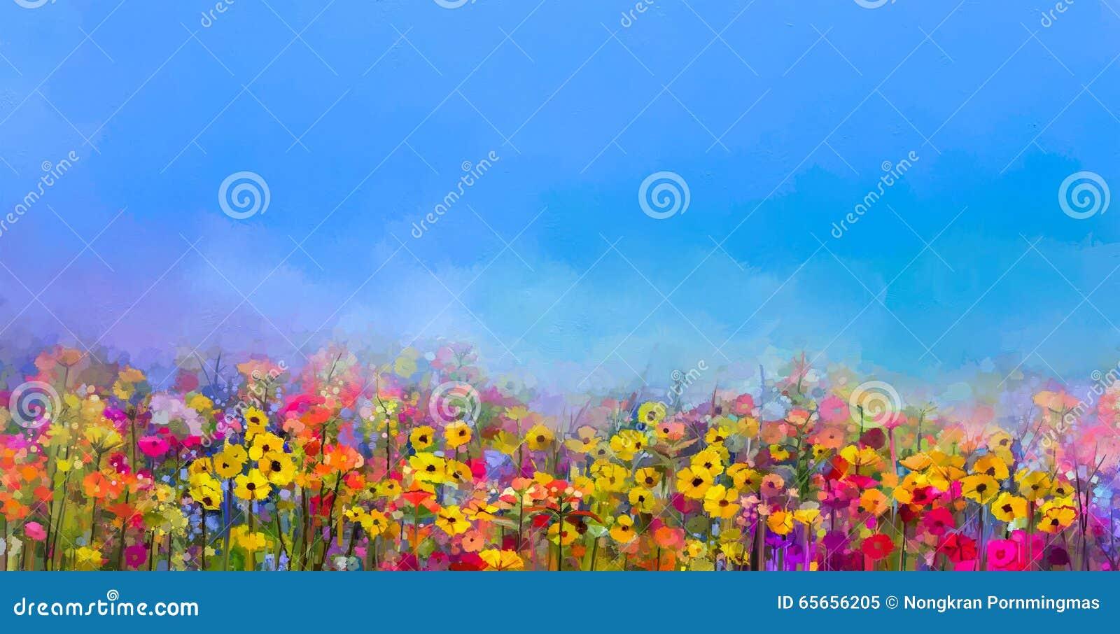Olje- målning av sommar-vår blommor Blåklint tusenskönablomma