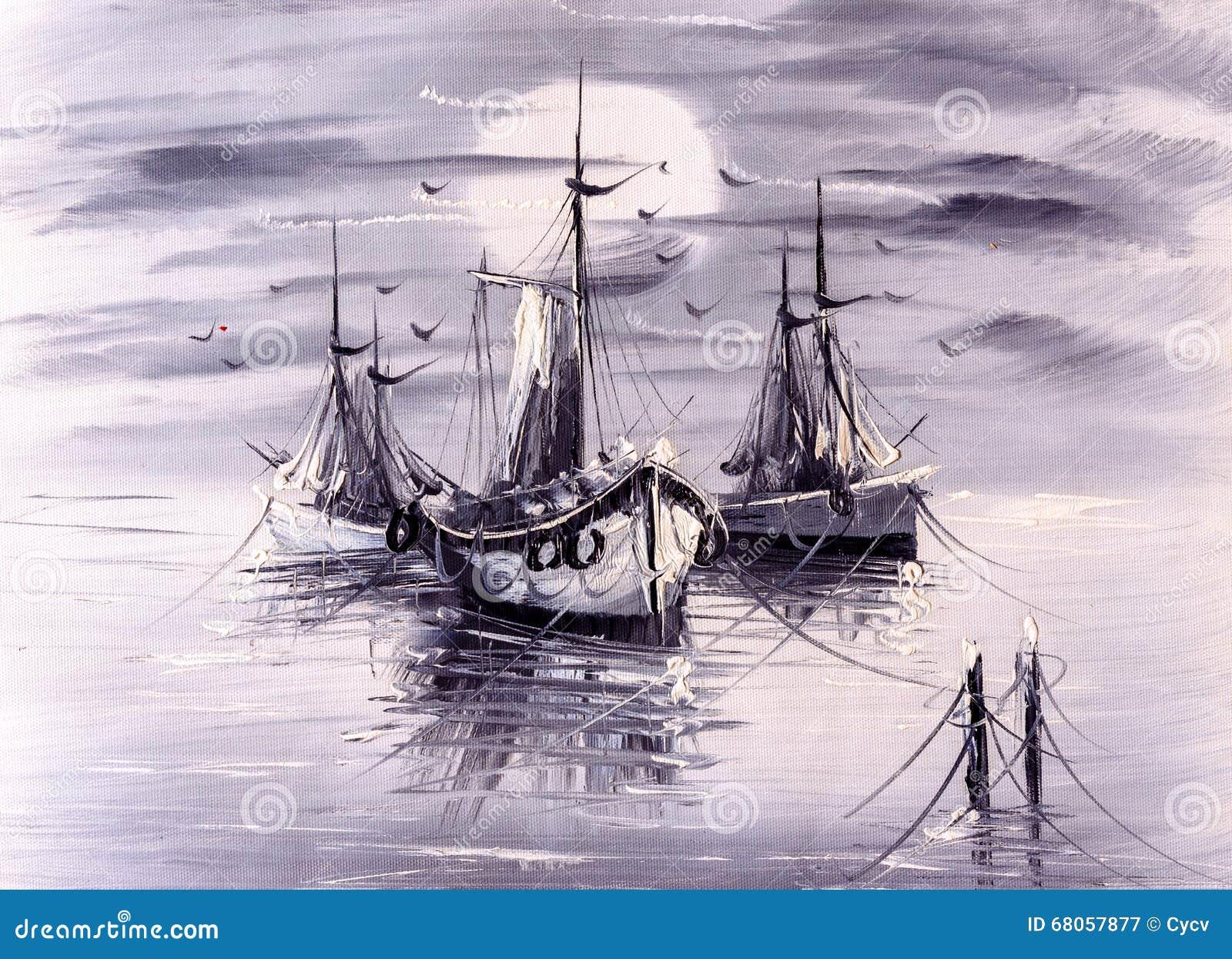 Olje- målning - fartyg