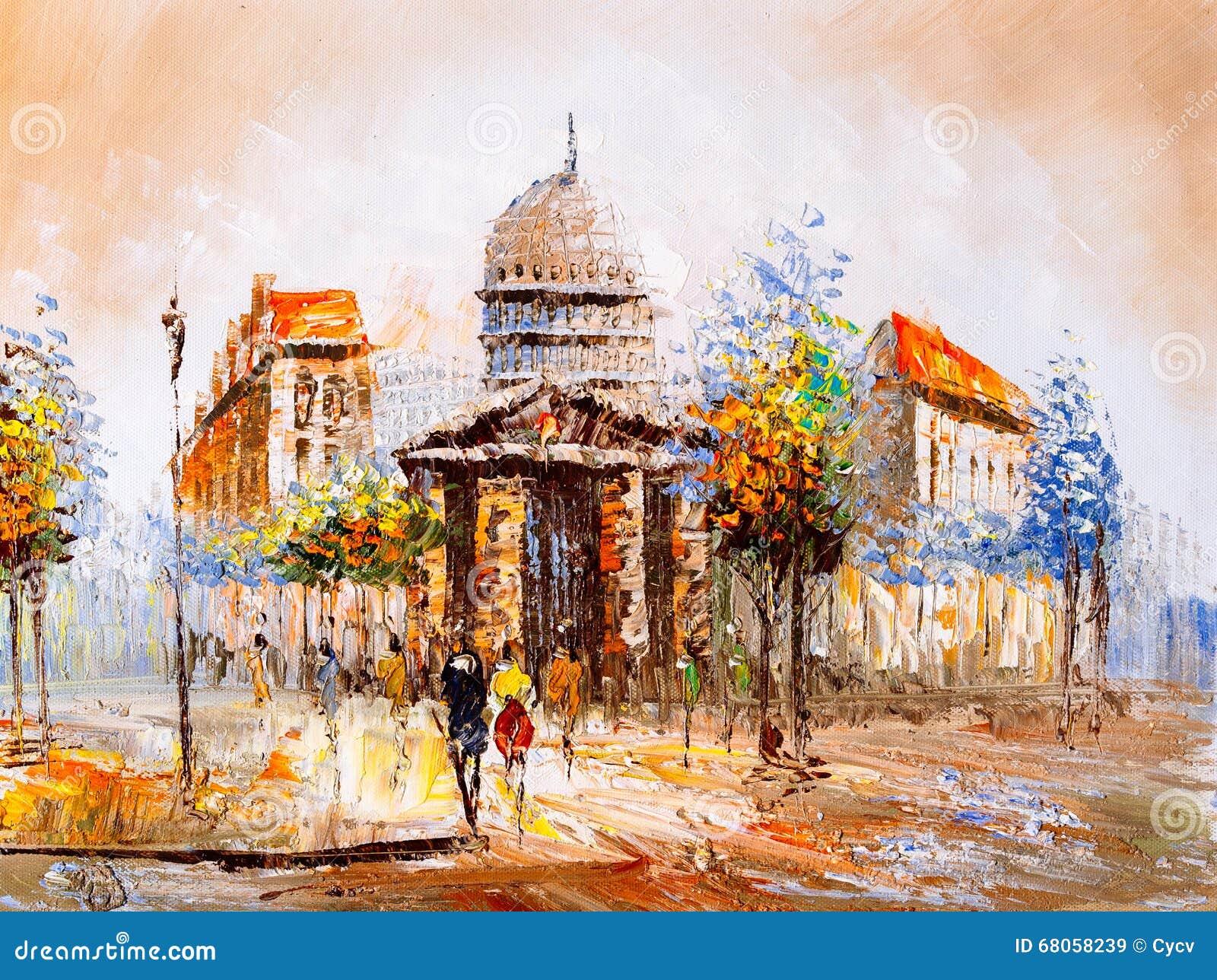 Olje- målning - gatasikt av Paris