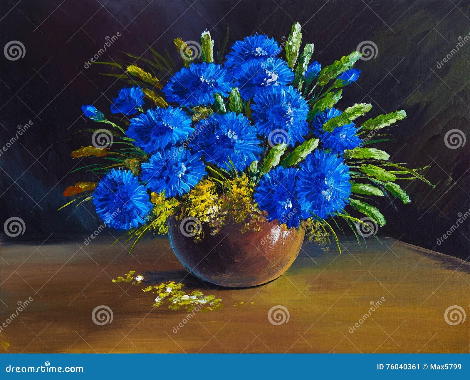Olje- målning - stilleben, en bukett av blommor, vildblommor