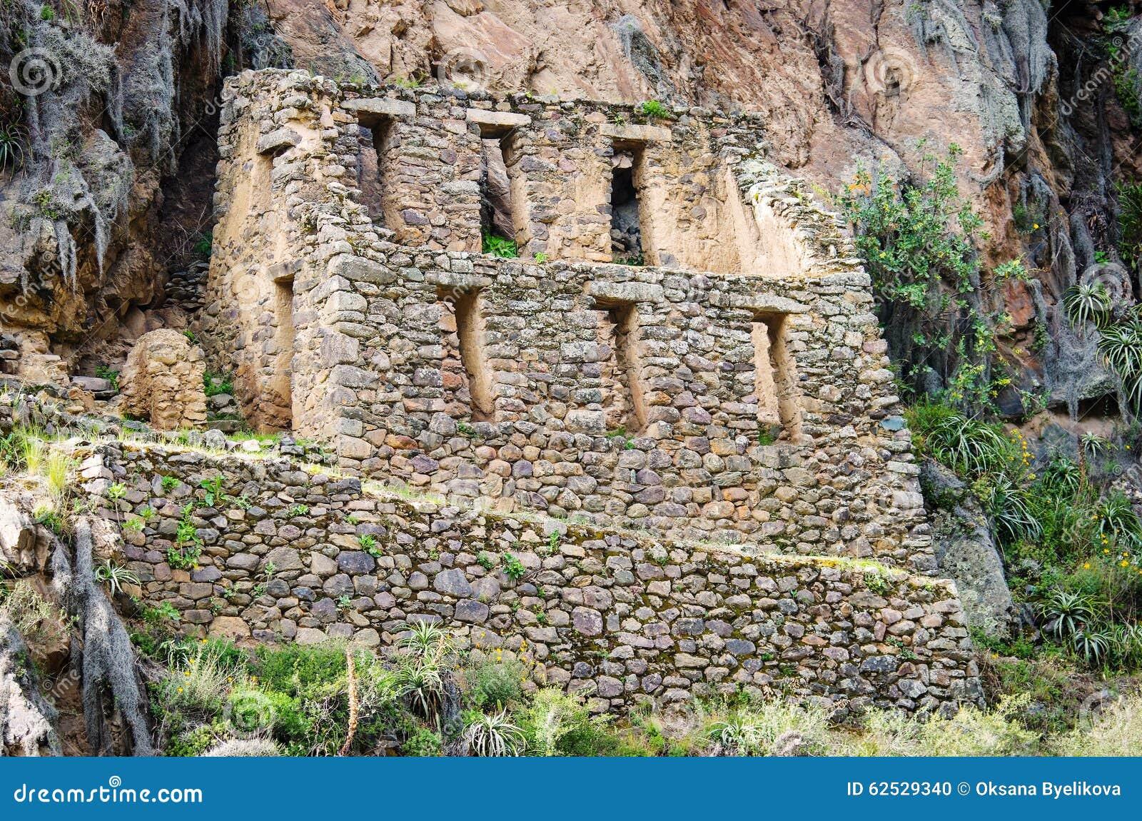 Ollantaytambo -神圣的谷的老印加人堡垒在安地斯,
