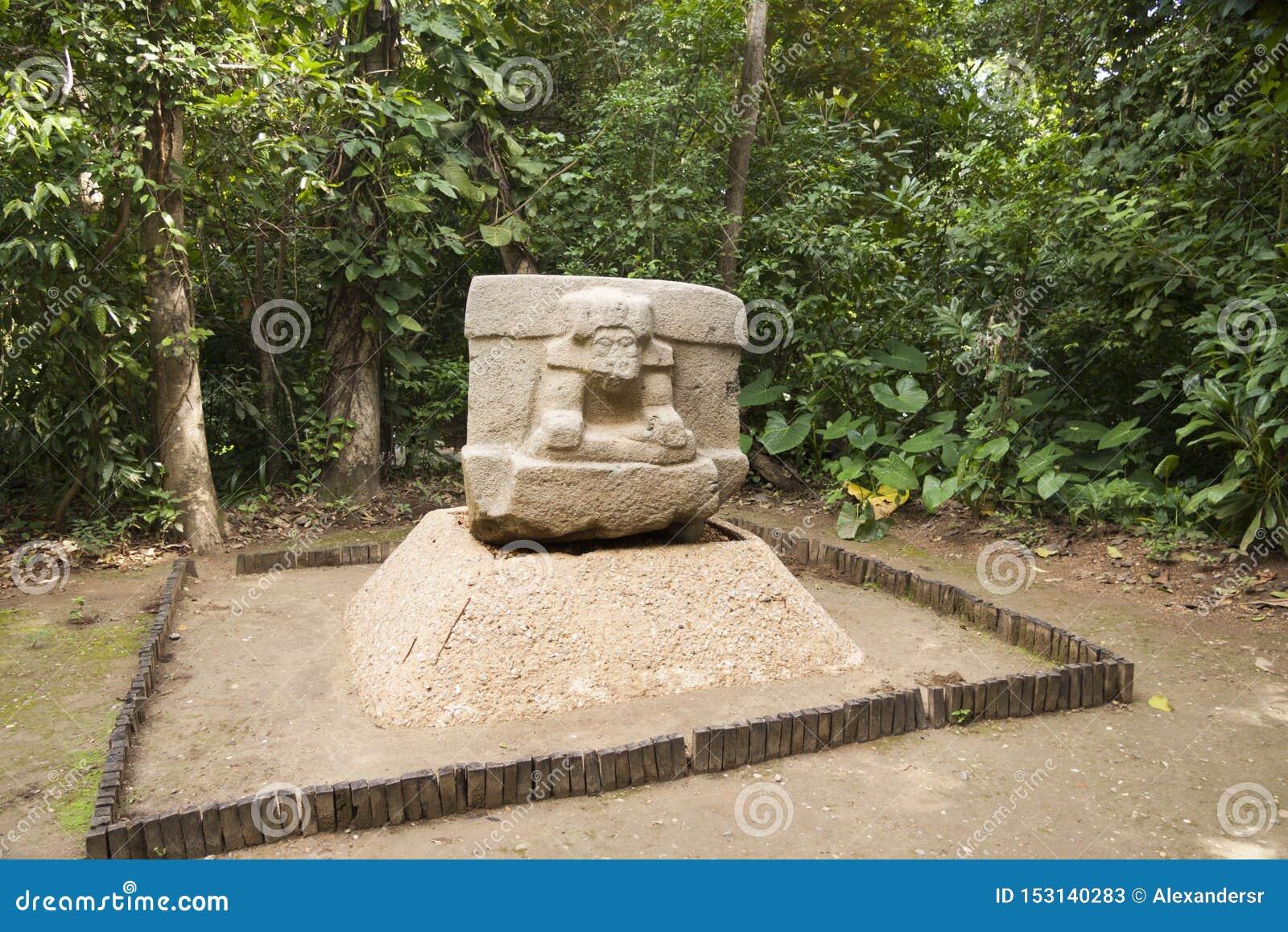 Olmec hällristningskulptur, La Venta, Villahermosa, tabasco, Mexico