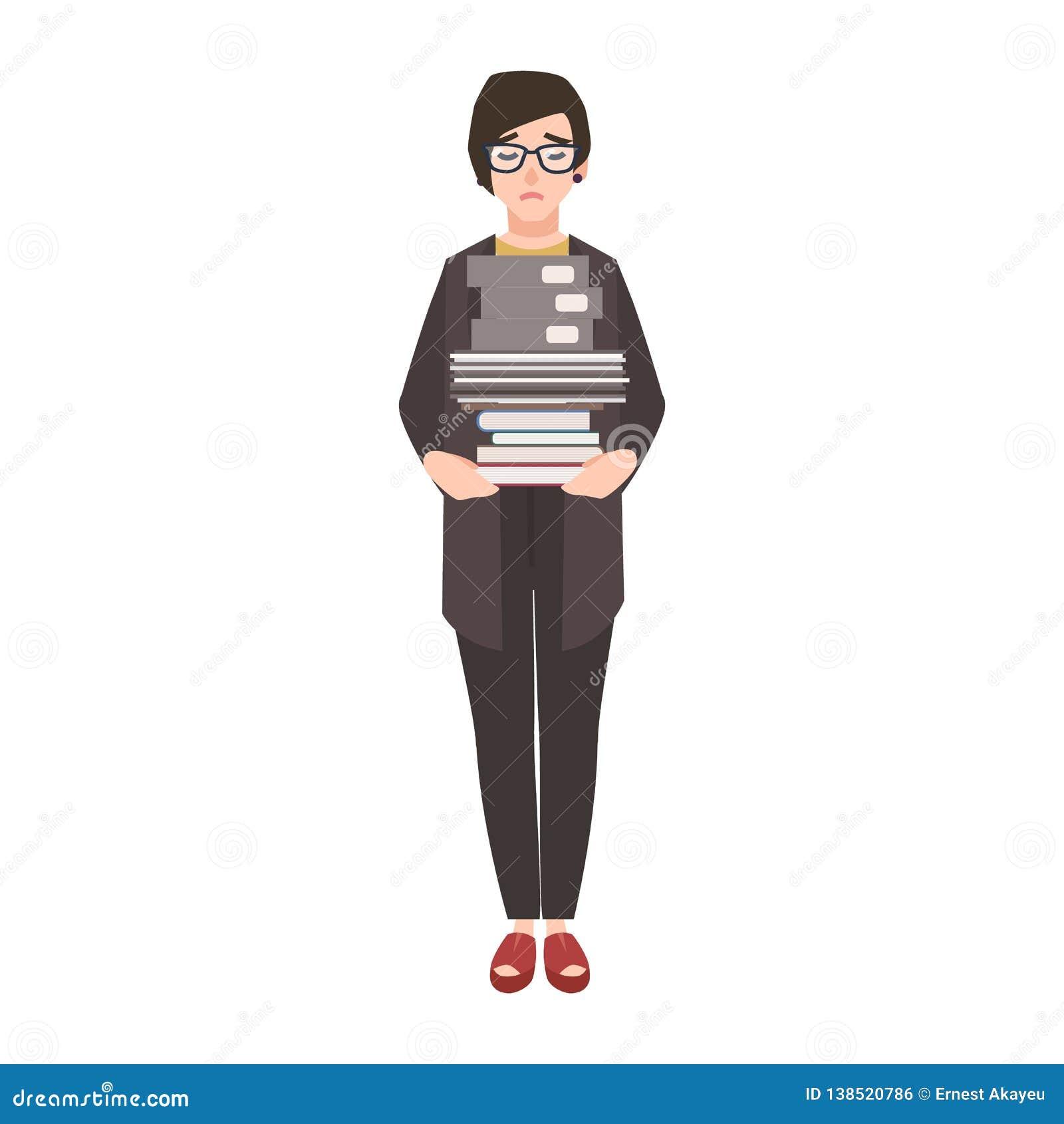 Olycklig kvinnlig kontorist-, anställd- eller affärskvinnainnehavbunt av mappar och dokument Ledsen, trött eller utmattad kvinna