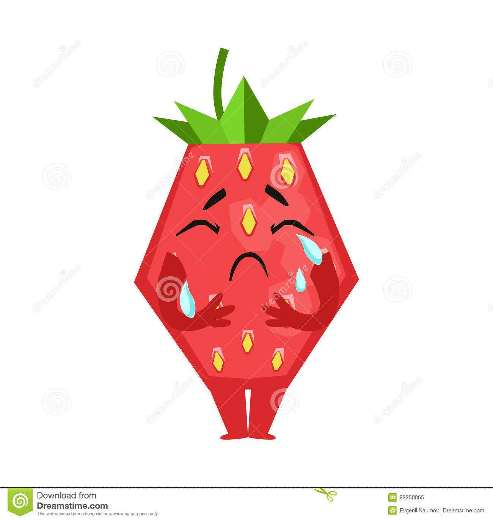 Olycklig skriande jordgubbe Gullig illustration för vektor för tecknad filmemojitecken