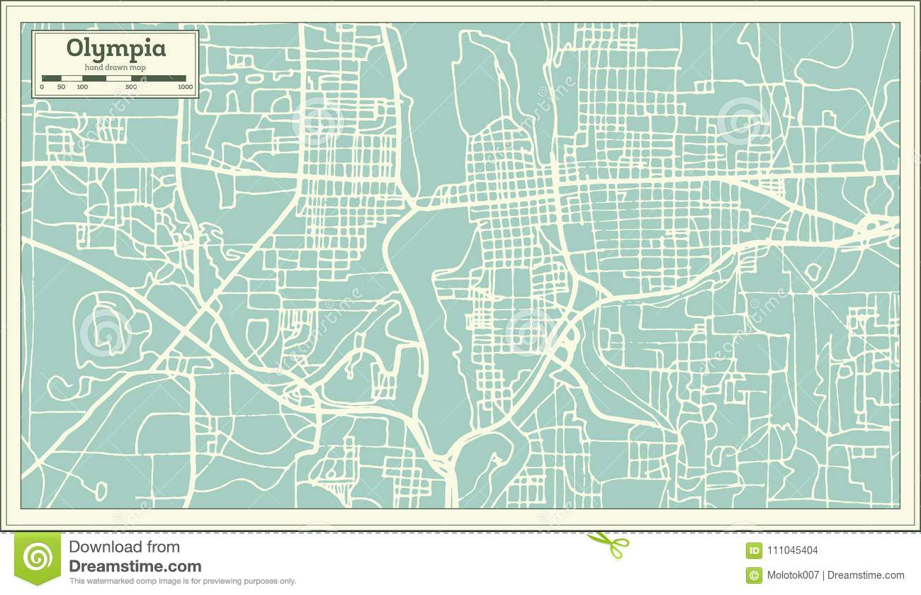 Olympia Washington USA City Map In Retro Style. Outline Map. Stock ...
