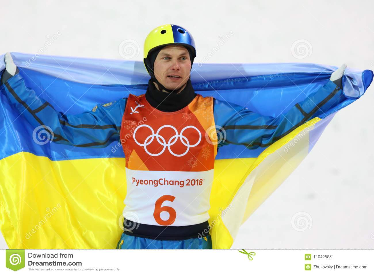 Olympic champion Oleksandr Abramenko of Ukraine celebrates victory in the Men`s Aerials Freestyle Skiing at the 2018 Olympics