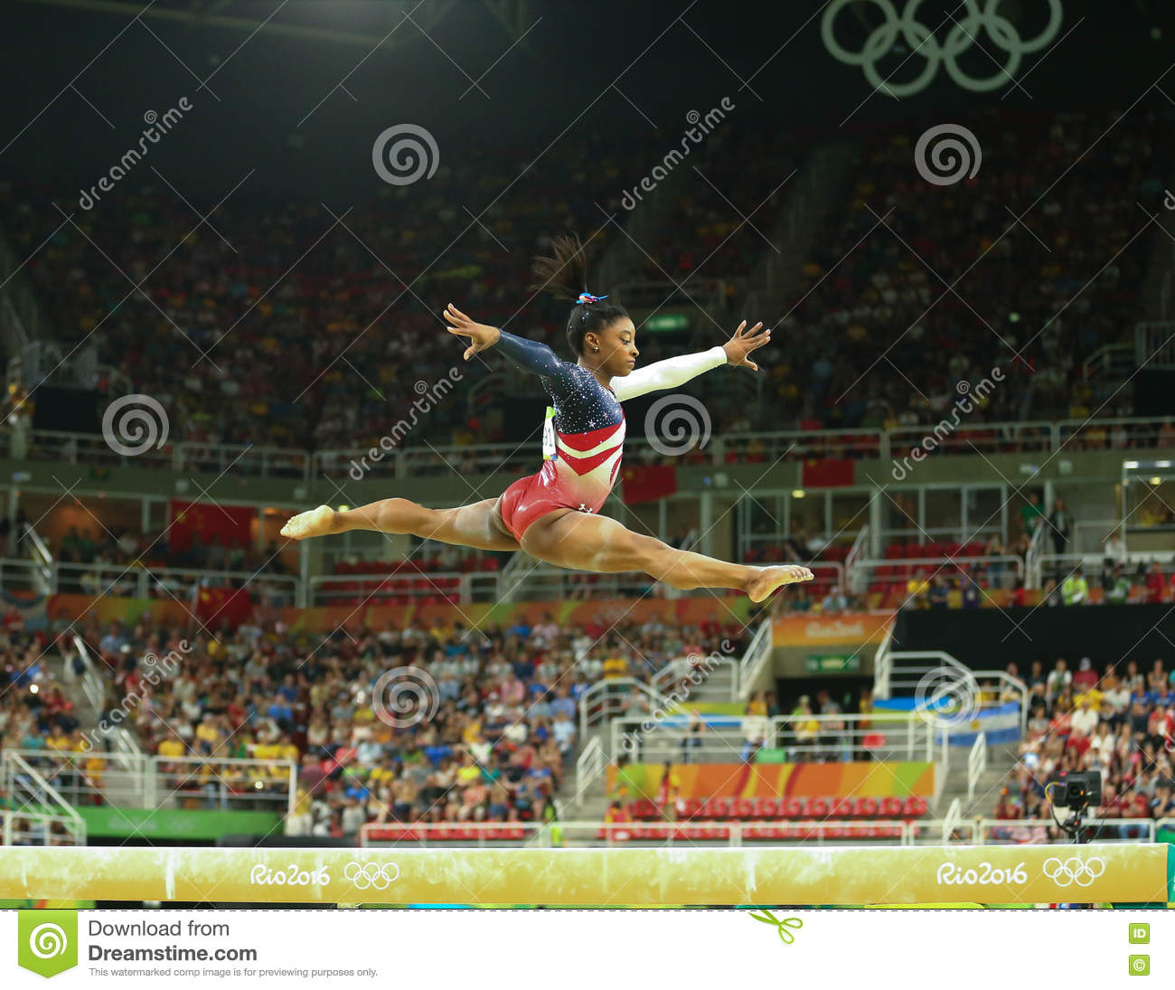 Olympic champion Simone Biles of United States competes on the balance beam at women s team all-around gymnastics at Rio 2016