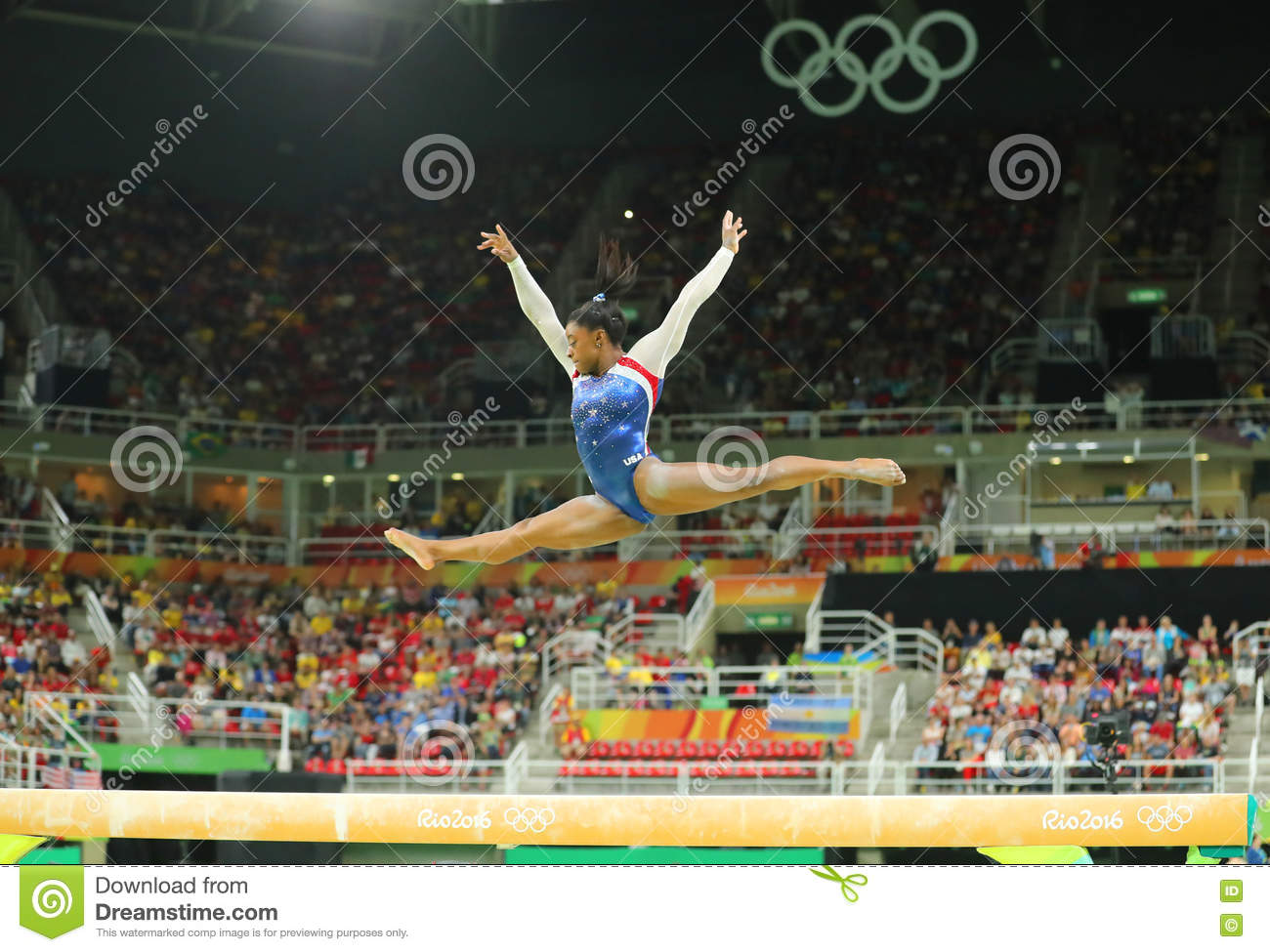 Olympic champion Simone Biles of United States competing on the balance beam at women s all-around gymnastics at Rio 2016 Oly