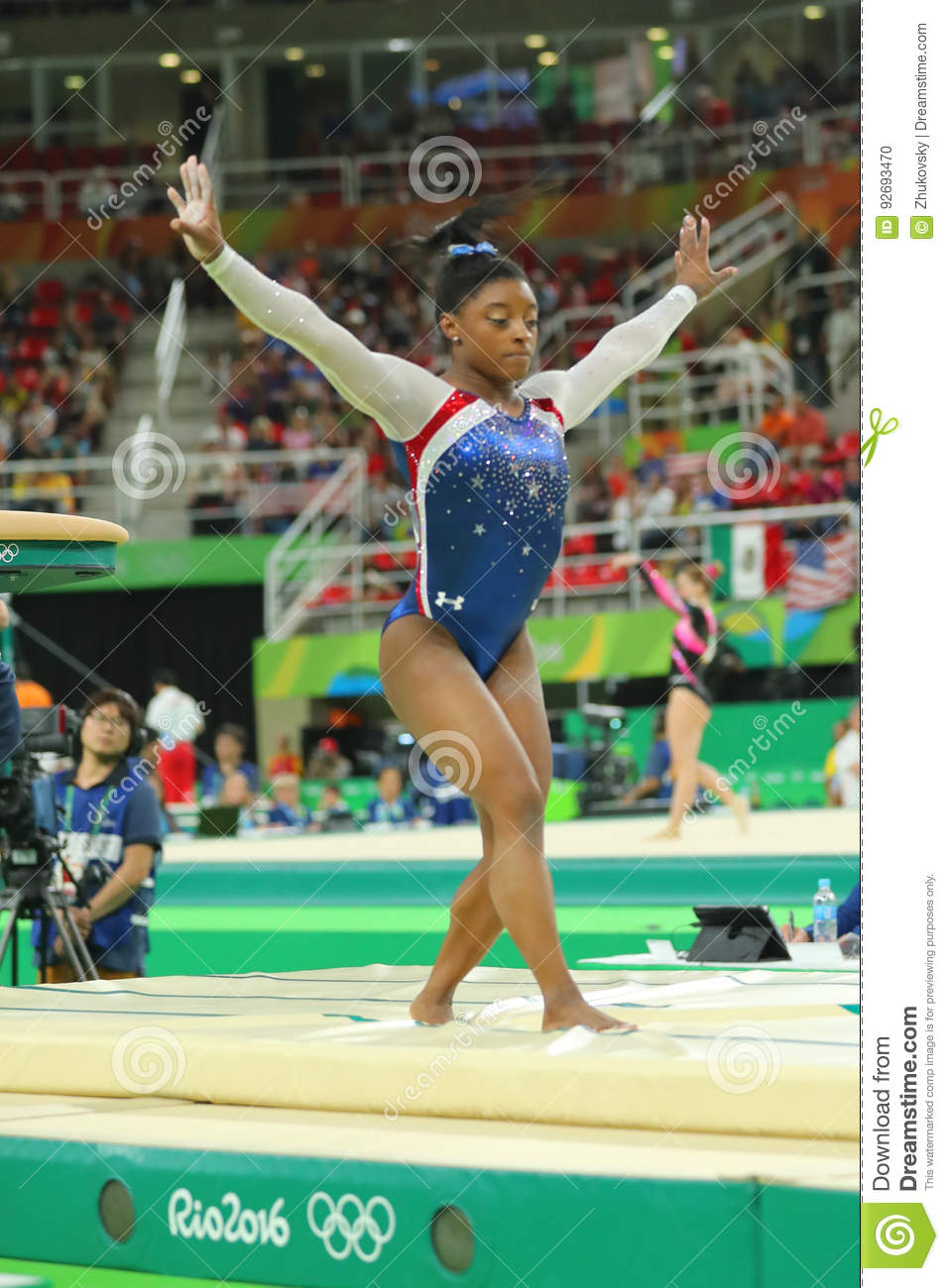 Olympic champion Simone Biles of United States competing a vault at women`s all-around gymnastics at Rio 2016 Olympic Games