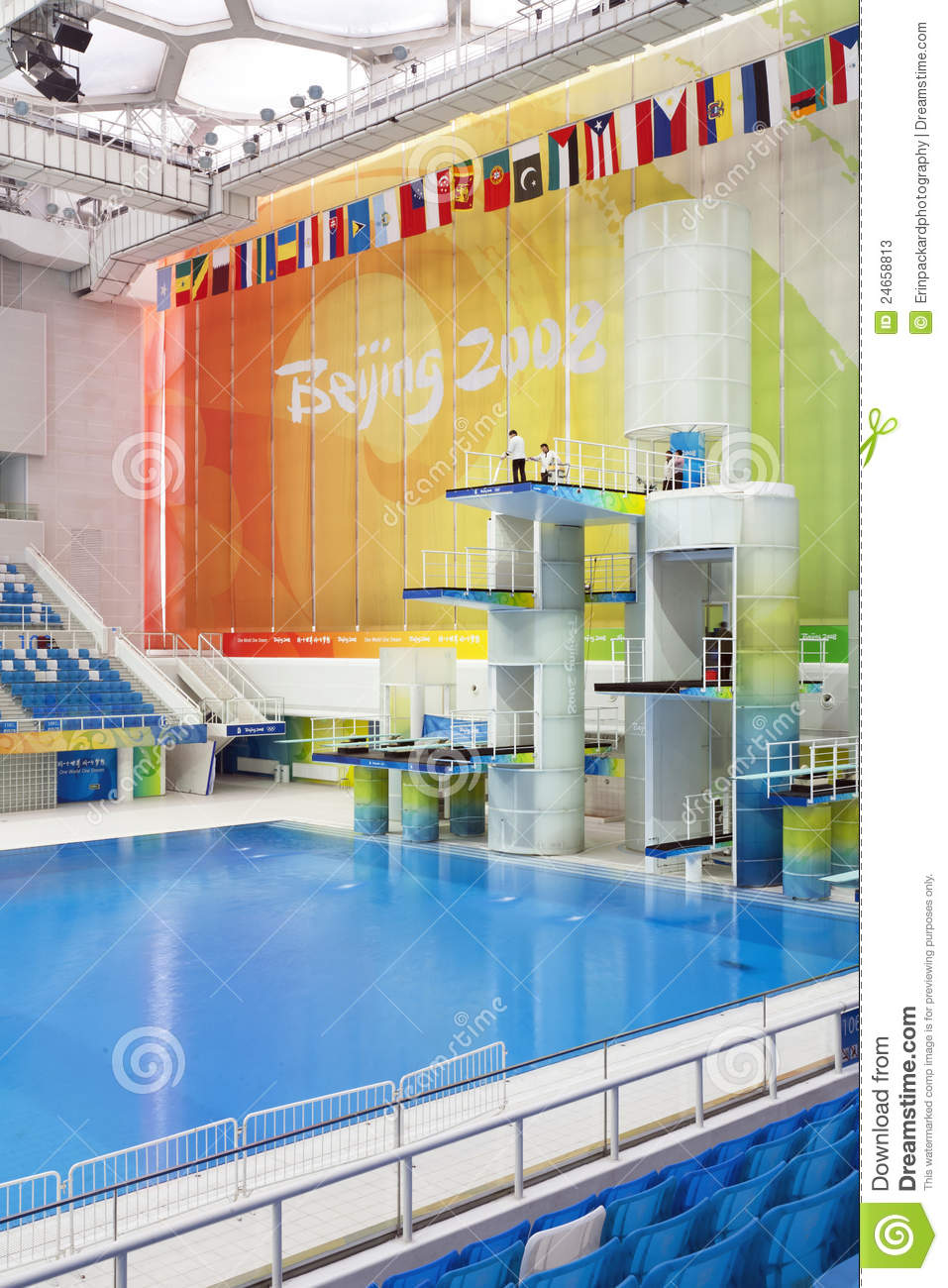 Olympic diving platforms editorial stock photo image 24658813 for How deep is a olympic swimming pool