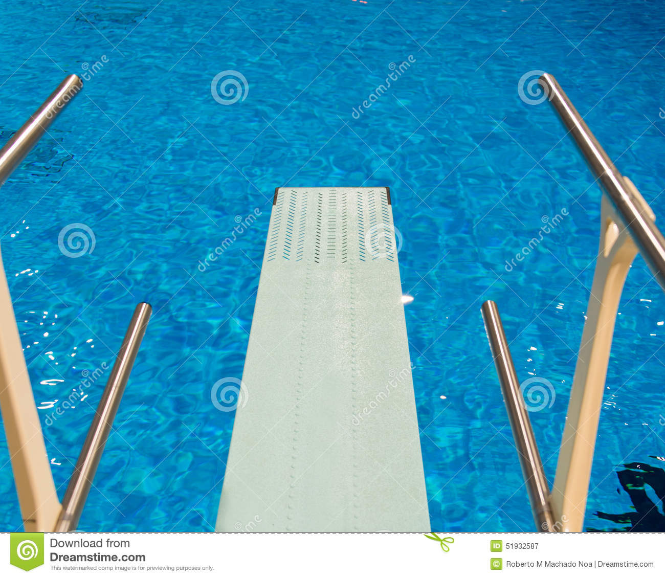 Olympic Swimming Pool In Person: Olympic Diving Pool Seen From Trampoline Stock Photo