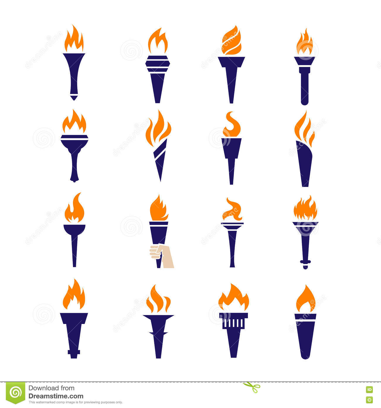Olympic Fire Torch Victory Championship Flame Flat Vector Icons ... for Olympic Torch Fire  58cpg