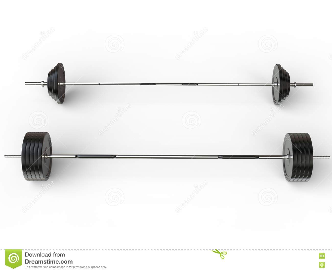 Olympic And Gym Barbell Weights - Top View Stock Photo - Image: 73977273
