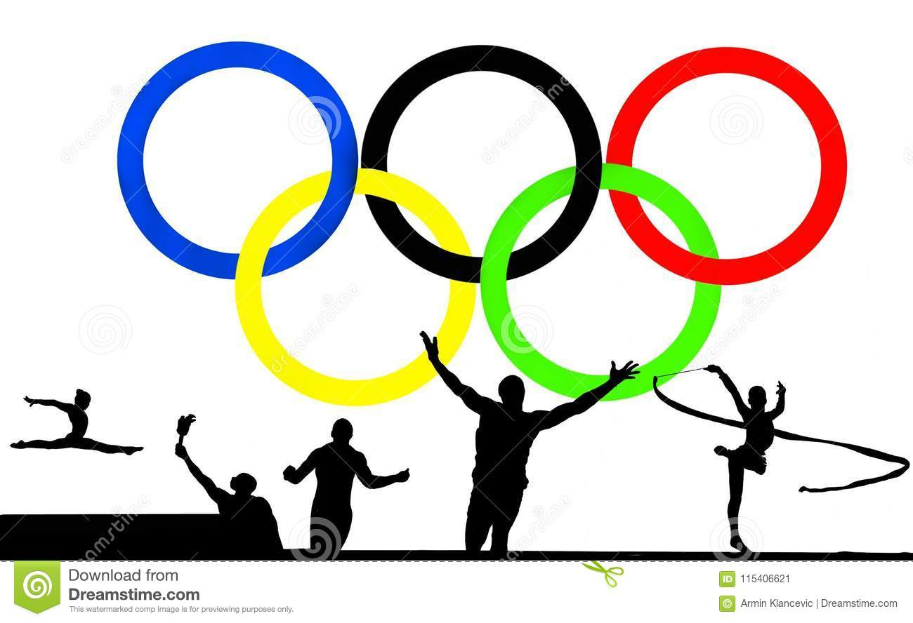 Olympic logo and games editorial photo. Illustration of ...
