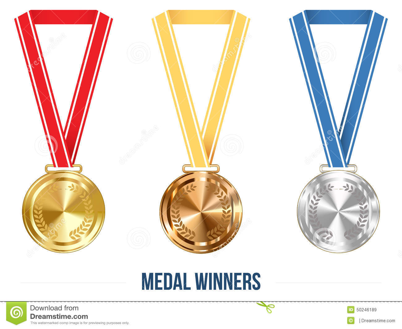Olympic Medal With Ribbon Set, Vector Illustration Stock