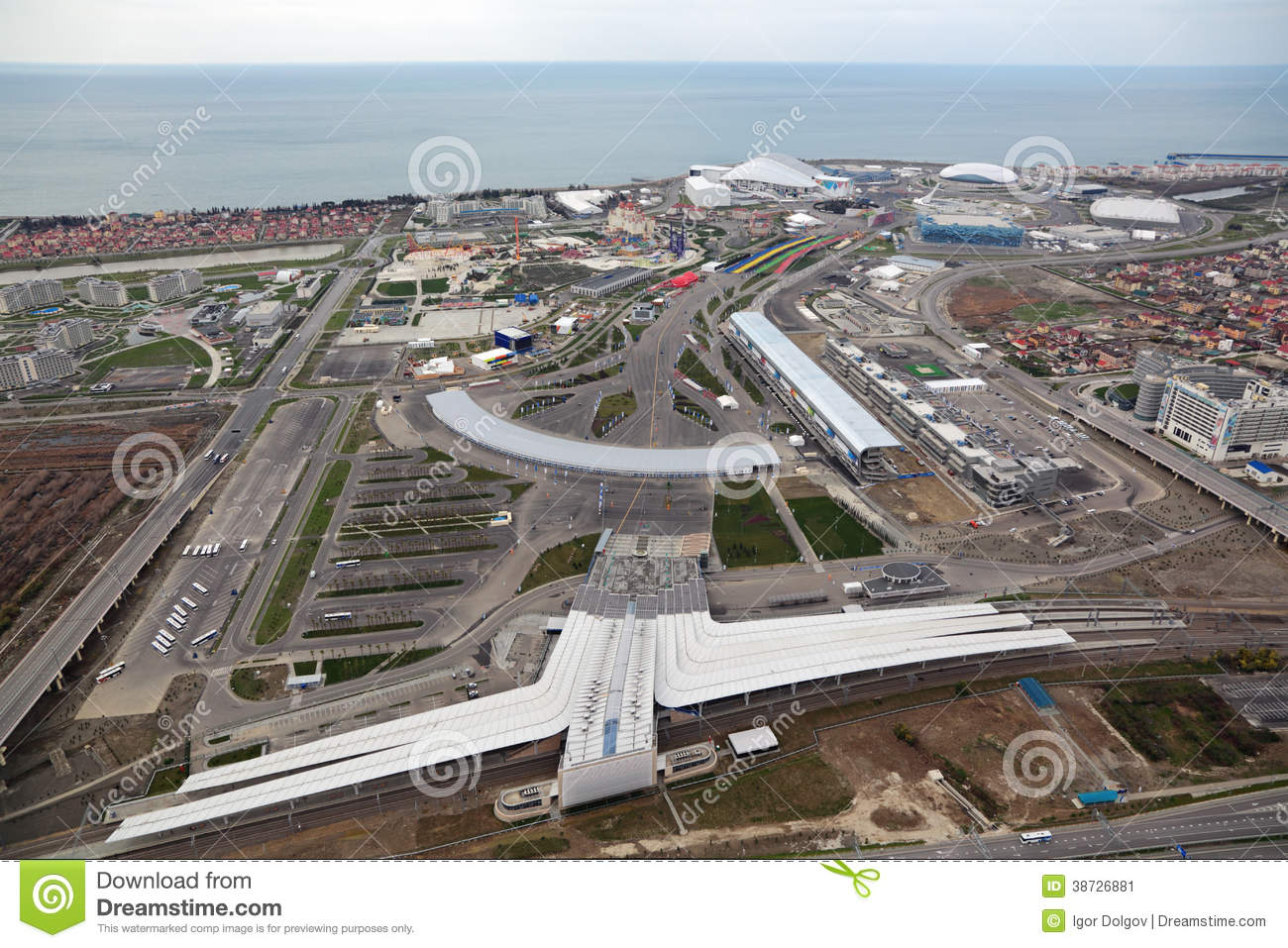 Adler Russia  city photos gallery : SOCHI, ADLER, RUSSIA MAR 02, 2014: Olympic Park and train station in ...