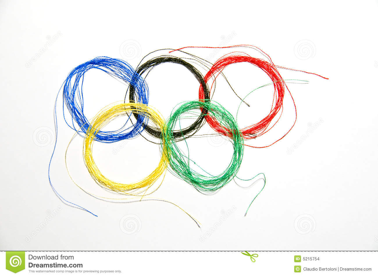 Olympic coloured thread, five rings