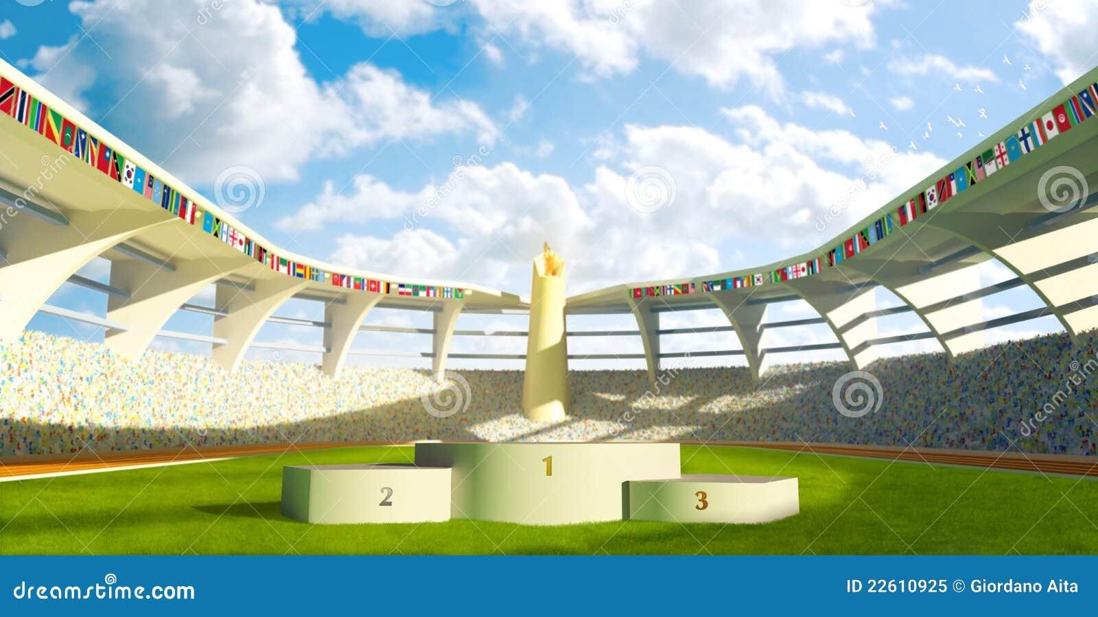 olympic stadium with podium royalty free stock photo