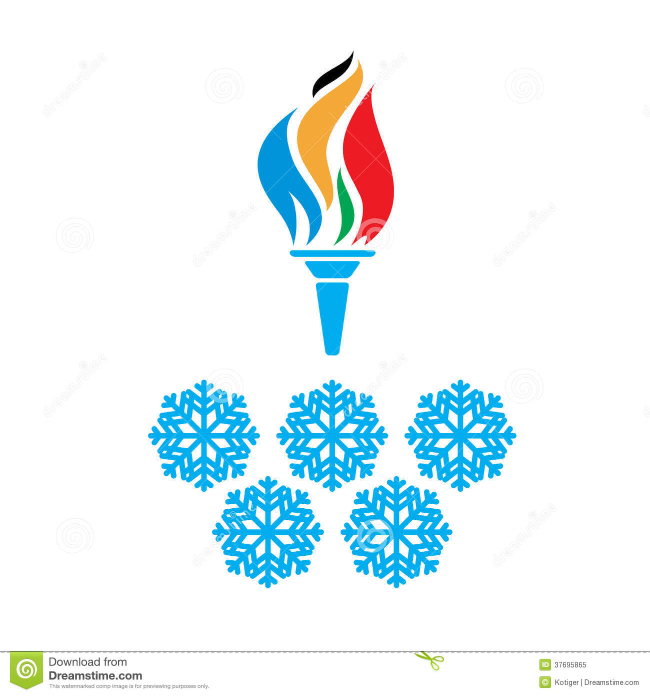 Olympic Symbols Torch And Rings Vtctor Illustration 37695865 Megapixl