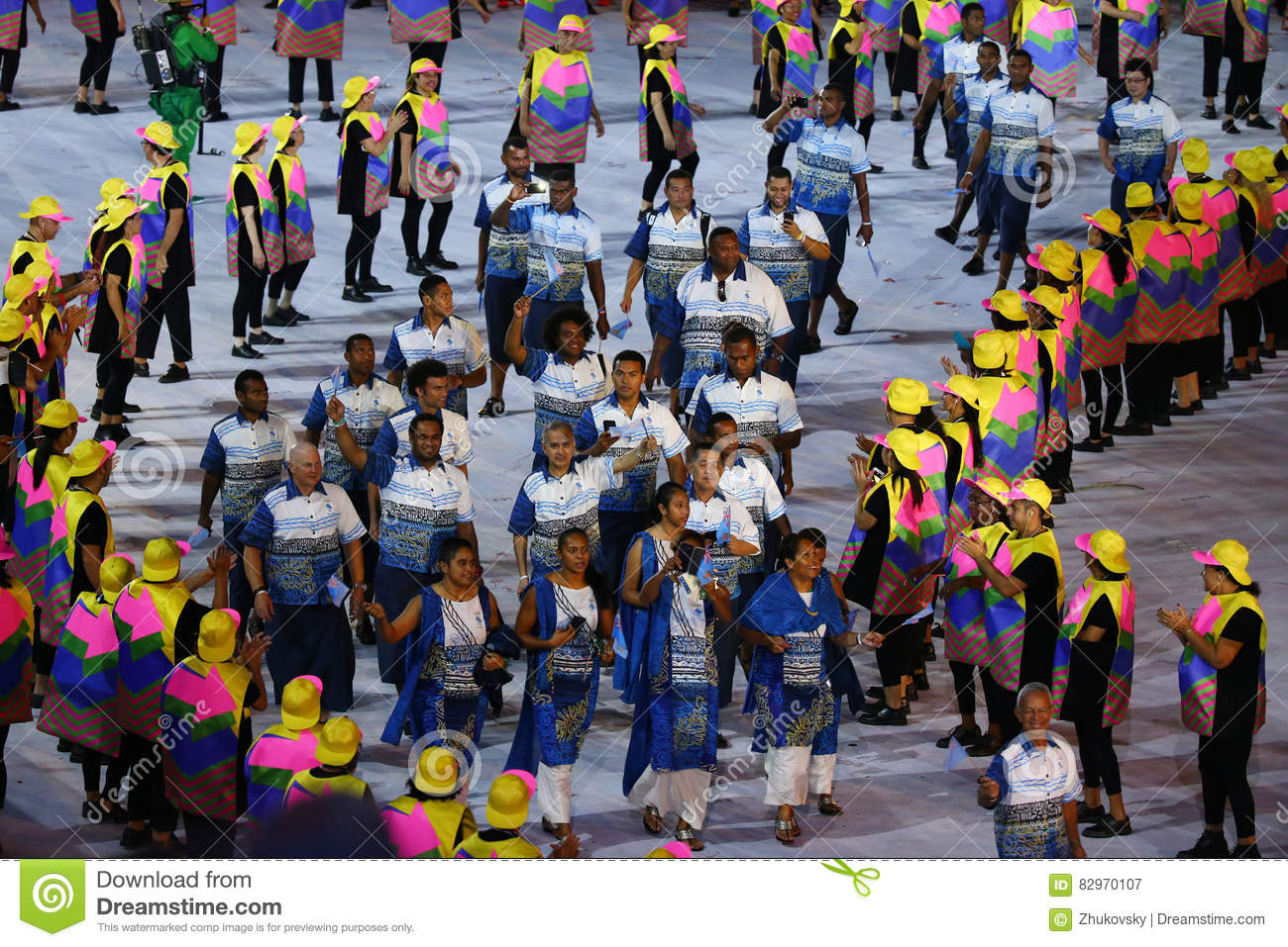 Olympic Team Fiji Marching At Maracana Stadium During The ...