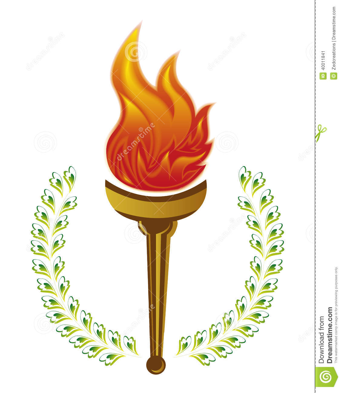 An illustration of olympic fire torch on white background.An ...