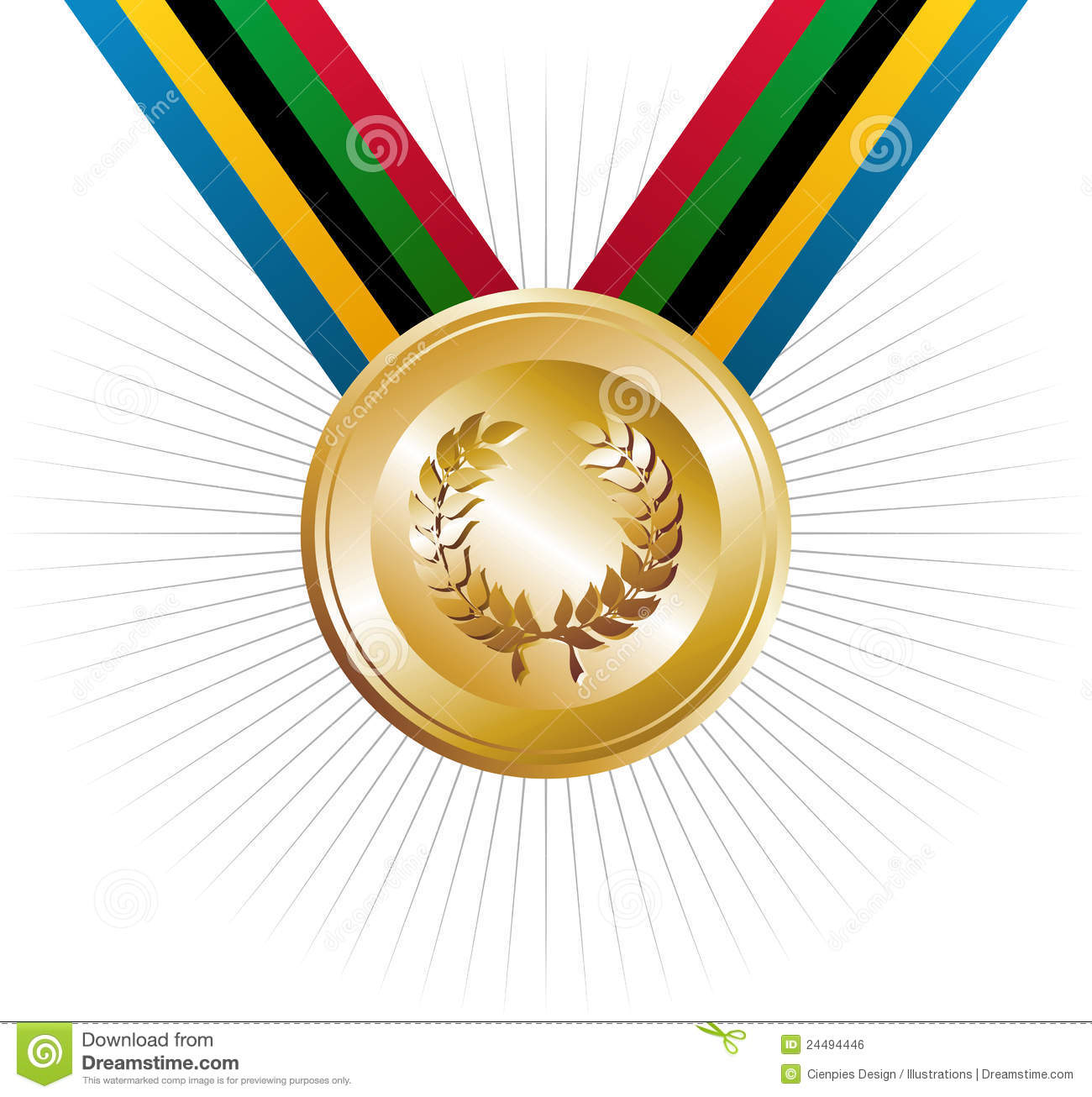 Olympics Games Gold Medal With Laurel Wreath Royalty Free Stock Image ...