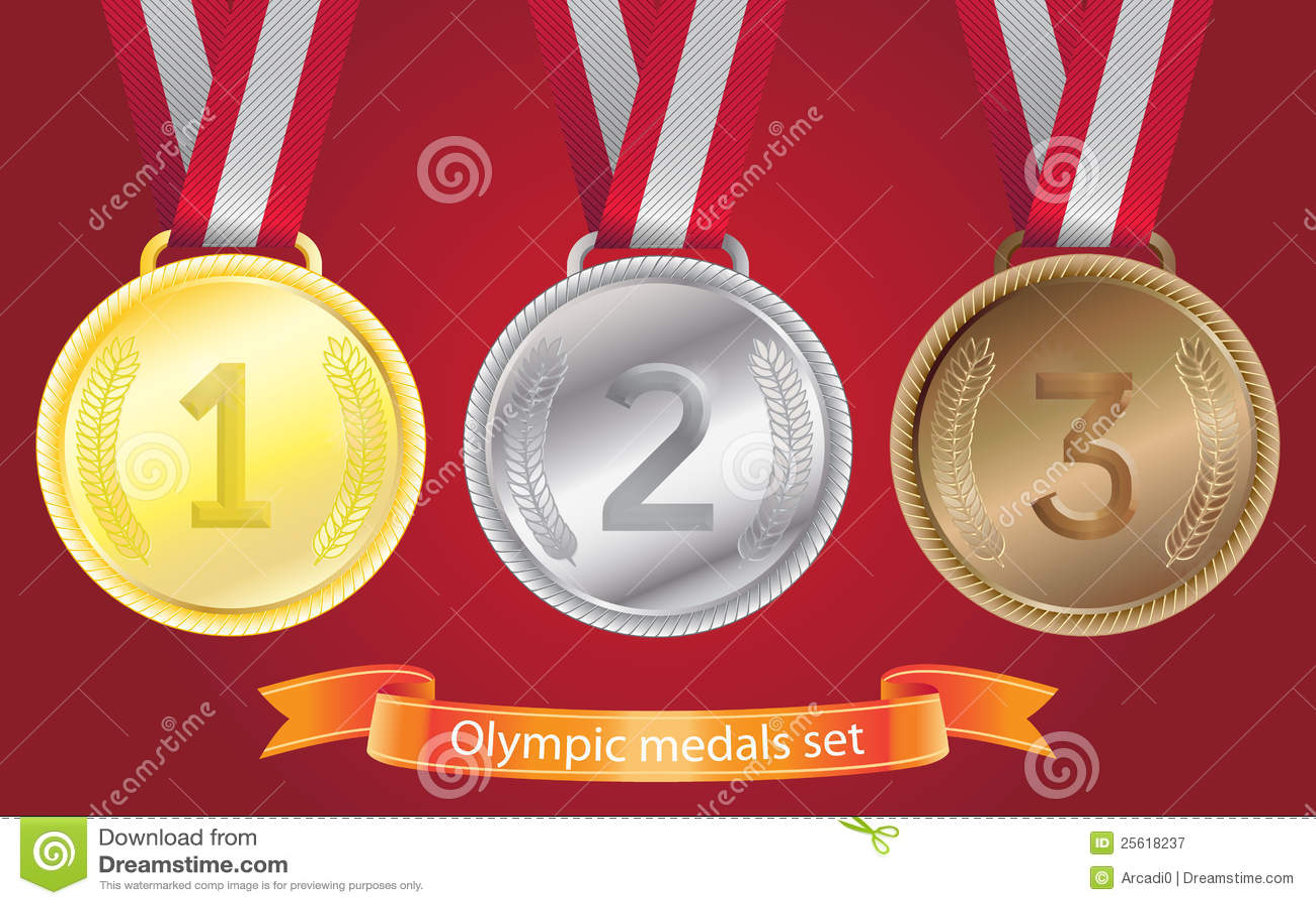 Olympische geplaatste medailles - goud, zilver, brons