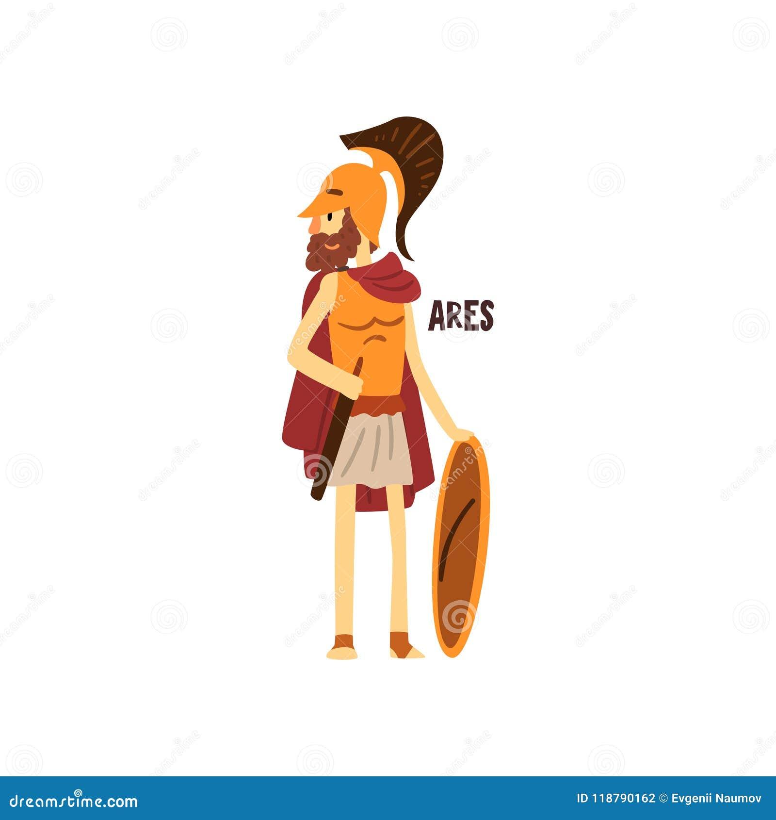 Olympischer griechischer Gott Ares, altes Griechenland-Mythologiecharakter-Vektor Illustration auf einem weißen Hintergrund