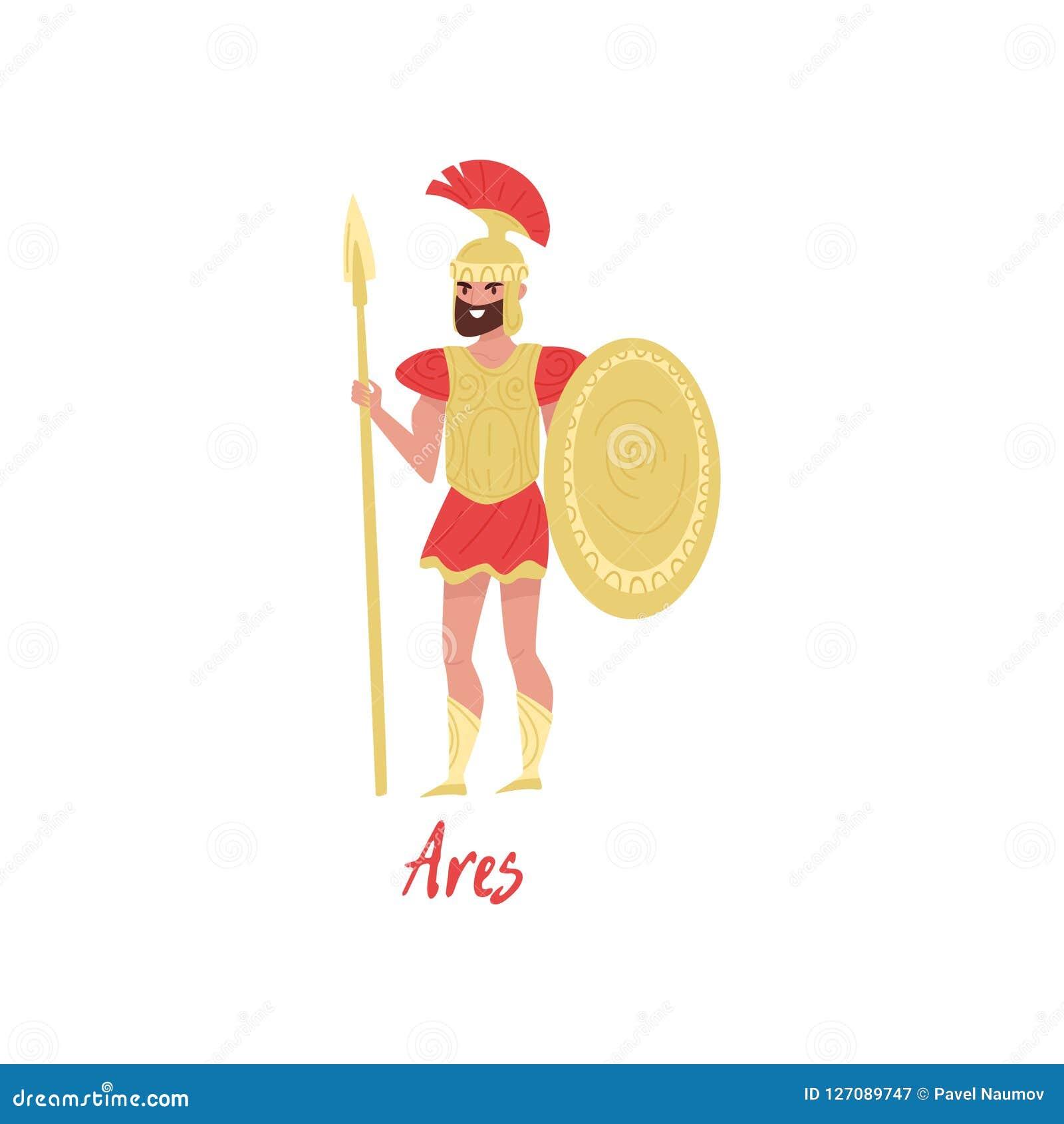 Olympischer griechischer Gott Ares, altes Griechenland-Mythos- Zeichentrickfilm-Figur-Vektor Illustration auf einem weißen Hinter