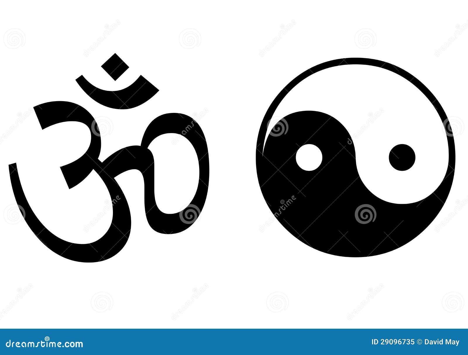 Om、Yin和杨符号