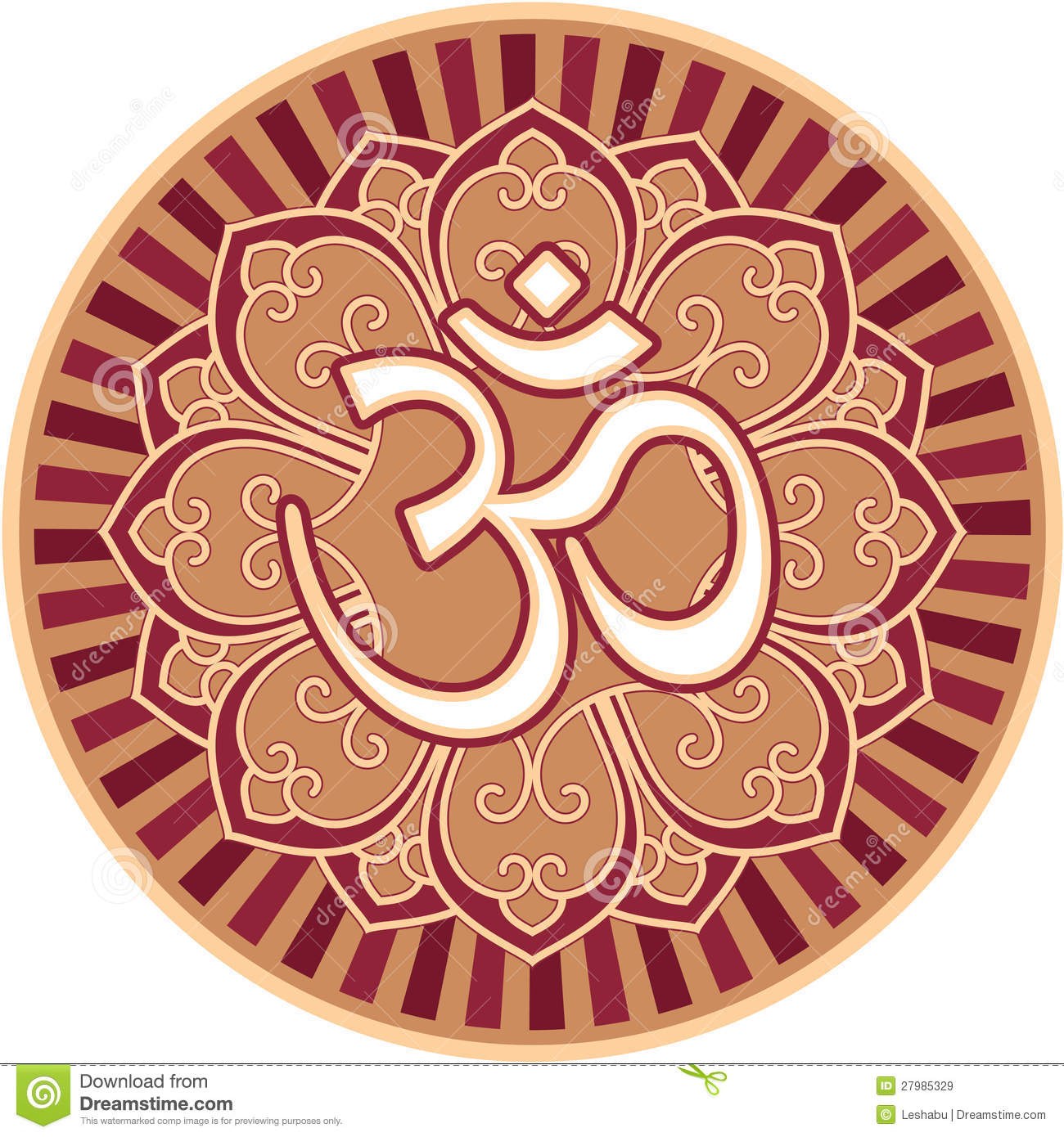 Om - Aum - Symbol In Flower Rosette Royalty Free Stock Images - Image ...