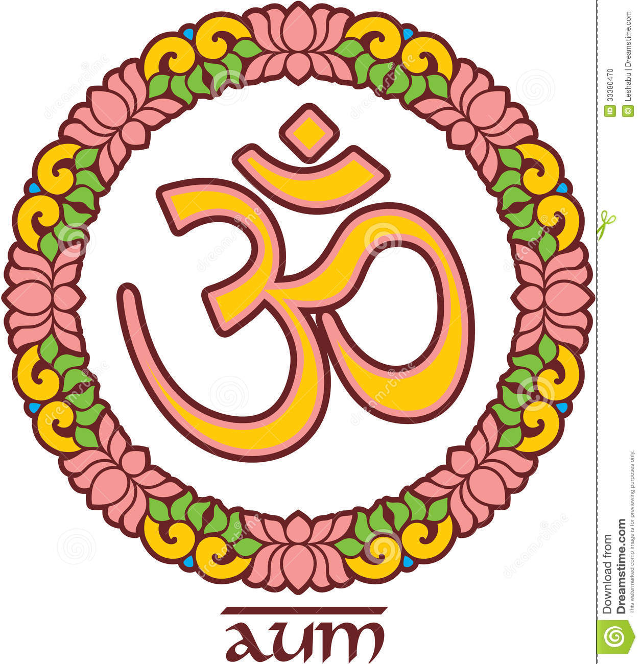 Om - Aum - Symbol In Lotus Frame Stock Illustration ...