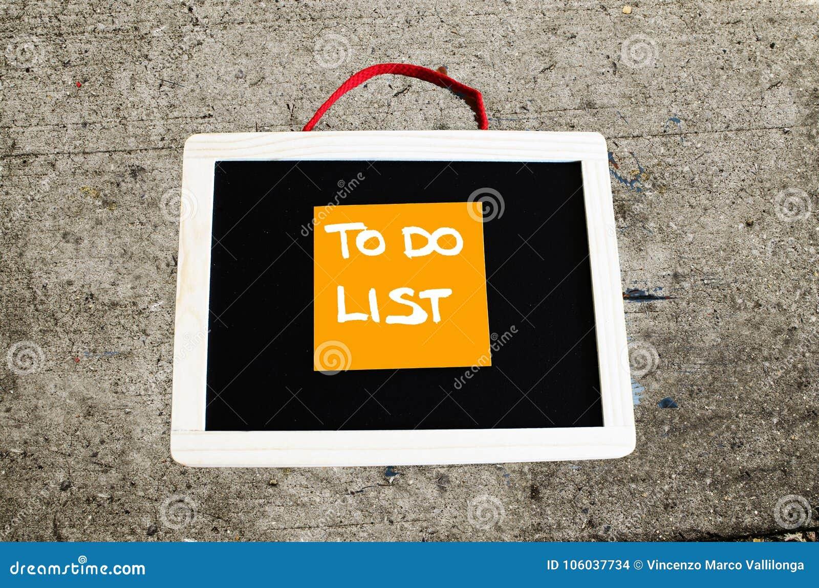 Om conceptuele lijst te doen geschreven op bord