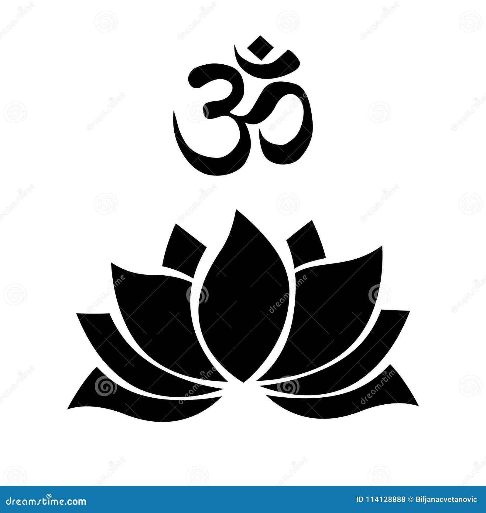 Om Lotus Flower Stock Illustration Illustration Of Concept 114128888