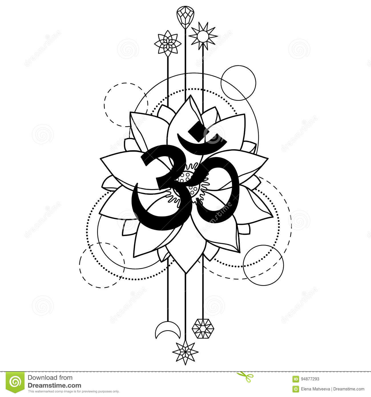 Om And Lotus Tattoo Stock Vector Illustration Of Nature 94877293