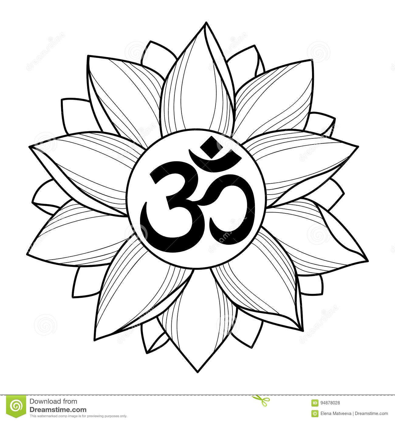 Om And Lotus Tattoo Stock Vector Illustration Of Decorative 94878028