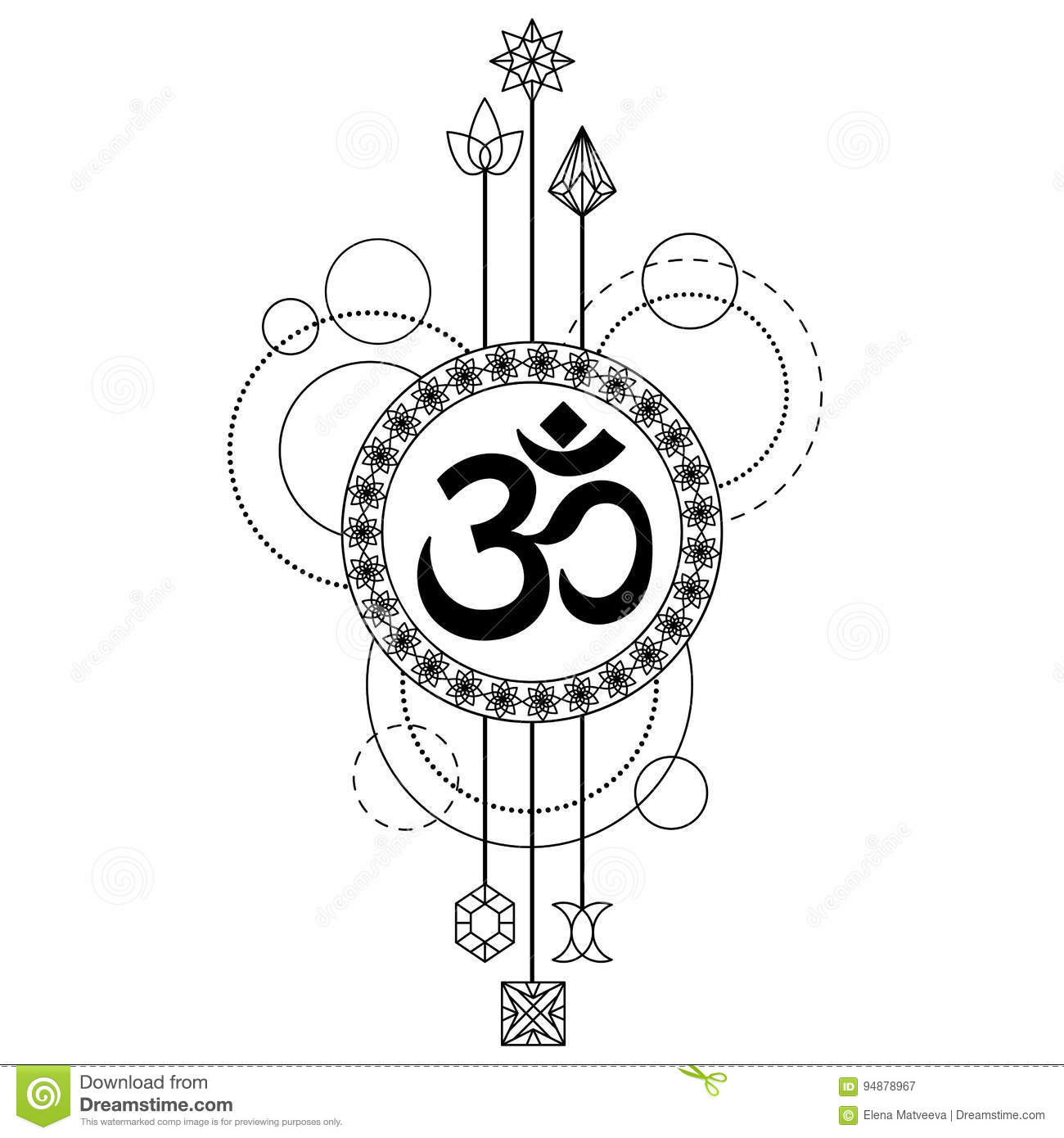 39eaeb0e6 Tattoo with mantra Om abstract composition on white background. Modern  symbol, textile print, coloring page.